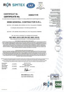 IREM General Contractor S.R.L. ISO 9001 2015_RINA, exp.14.12.2020_vizat 2019 (HQ)jpg_Page1