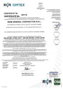 Irem General Contractor SRL Certificate ISO - IEC 27001-2018, exp. 18.09.2021_vizat 2019(HQ)jpg_Page1